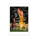 Fairies & Red Doberman Mini Poster Print
