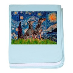 Starry Night / 2 Dobies baby blanket