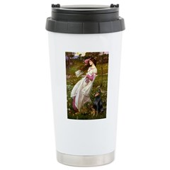 Windflowers / Doberman Ceramic Travel Mug