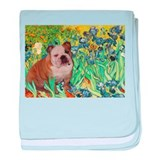 Irises / 2 English Bulldogs baby blanket