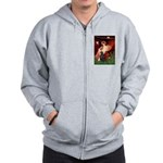 Angel / Flat Coated Retriever Zip Hoodie