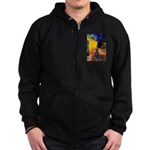 Cafe / Flat Coated Retriever Zip Hoodie (dark)