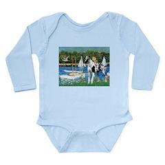 Sailboats / Gr Dane (h) Long Sleeve Infant Bodysui