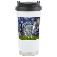 Starry Night/Italian Greyhoun Ceramic Travel Mug