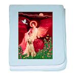 Seated Angel /Italian Spinone baby blanket