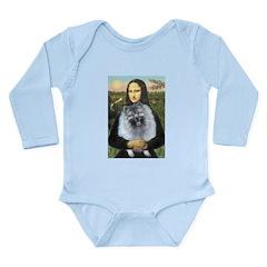 Mona Lisa / Keeshond (F) Long Sleeve Infant Bodysu