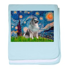Starry / Keeshond baby blanket