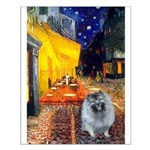 Cafe / Keeshond (F) Small Poster