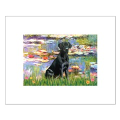 Lilies (#2) & Black Lab Small Poster