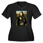 Mona's Black Lab Women's Plus Size V-Neck Dark T-S