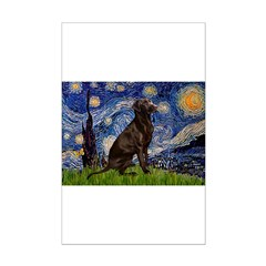 Starry Chocolate Lab Posters
