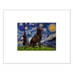 Starry Chocolate Lab Small Poster