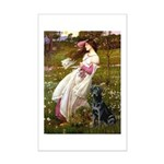Windflowers & Black Lab Mini Poster Print