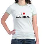I Love Caribbean Jr. Ringer T-Shirt