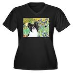 Irises & Papillon Women's Plus Size V-Neck Dark T-