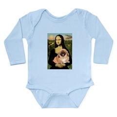 Mona / Pekingese(r&w) Long Sleeve Infant Bodysuit