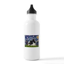 Starry Night / Pomeranian (b&w) Water Bottle