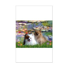 Lilies / 2 Pomeranians Mini Poster Print