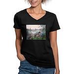 Seine / Poodle (Silver) Women's V-Neck Dark T-Shir