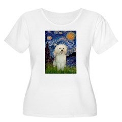 Starry / Poodle (White) Women's Plus Size Scoop Ne
