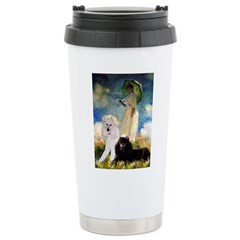 Umbrella / 2 Poodles(b & w) Ceramic Travel Mug