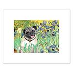 Irises / Pug Small Poster