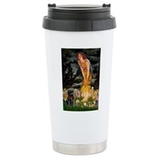 Fairies & Black Pug Ceramic Travel Mug