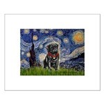 Starry Night / Black Pug Small Poster