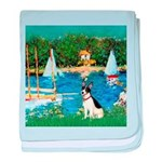 Sailboats / Rat Terrier baby blanket