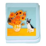 Sunflowers / Rat Terrier baby blanket