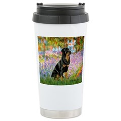 Garden / Rottweiler Ceramic Travel Mug