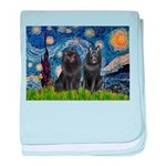 Starry Night & Schipperke baby blanket