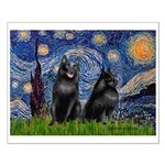 Starry / Schipperke Pair Small Poster
