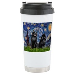Starry / Schipperke Pair Ceramic Travel Mug