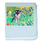 Irises / Miniature Schnauzer baby blanket