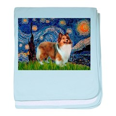 Starry / Sheltie (s&w) baby blanket
