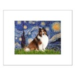Starry Night / Sheltie (s&w) Small Poster