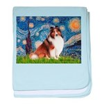 Starry Night / Sheltie (s&w) baby blanket
