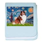 Starry Night / Sheltie (s&w) baby blanket