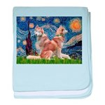 Starry Night Red Husky Pair baby blanket