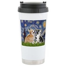 Starry Night / Corgi pair Ceramic Travel Mug