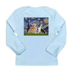 Starry Night / Corgi pair Long Sleeve Infant T-Shi