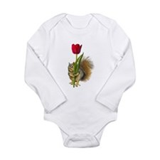 Squirrel Red Tulip Long Sleeve Infant Bodysuit