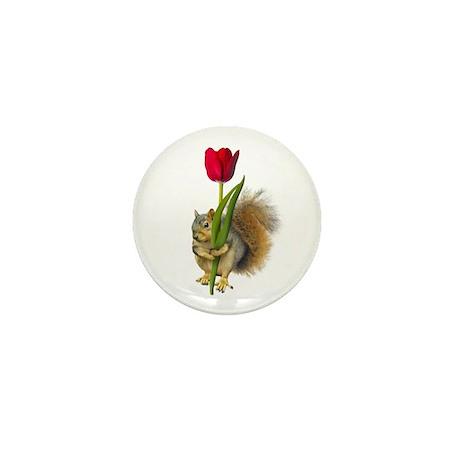 Squirrel Red Tulip Mini Button