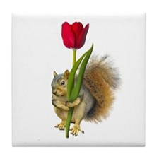 Squirrel Red Tulip Tile Coaster