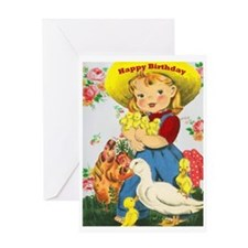 Retro Farm Girl Birthday Card