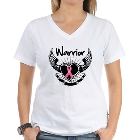 Breast Cancer Warrior Women's V-Neck T-Shirt