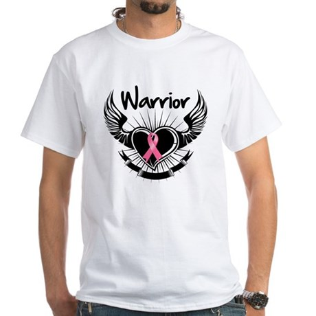 Breast Cancer Warrior White T-Shirt