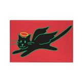 Black Angel Kitty on Red Rectangle Magnet (100 pac