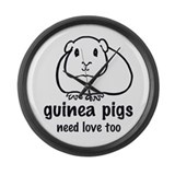 guinea pigs need love too Large Wall Clock